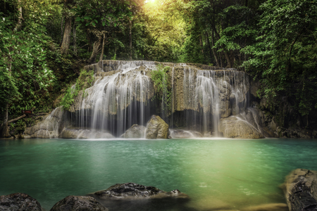 Second level of Erawan Waterfall in Kanchanaburi Province, Thailand photo