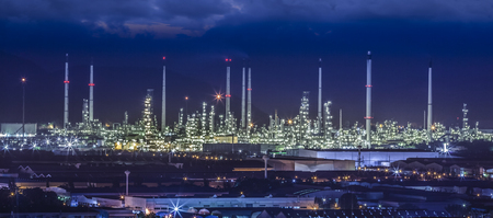 Landscape of oil refinery industry with oil storage tank  photo