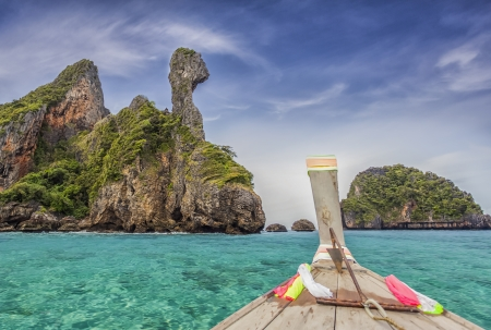 Railay beach in Krabi Thailand with blue sea and boat photo