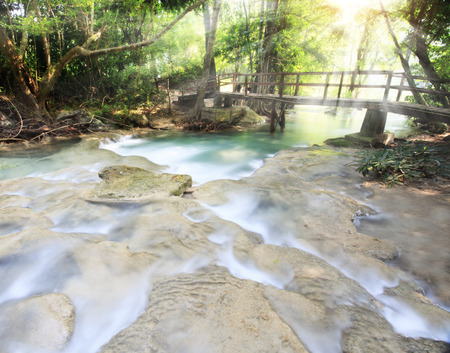 torrent: First level of Erawan Waterfall in Kanchanaburi Province, Thailand