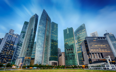 Landscape of the Singapore financial district and business building Editorial