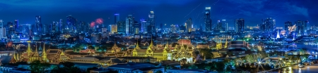 Grand palace at twilight in Bangkok between Loykratong festival, Thailand photo