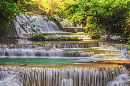 kanchanaburi: Erawan Waterfall in Kanchanaburi Province, Thailand Stock Photo