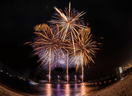 Fireworks new year celebration at Pattaya beach, Thailand photo