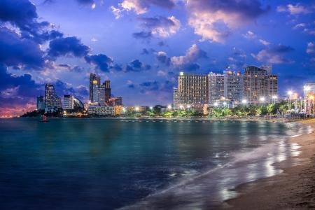 pattaya: Pattaya City beach and Sea in Twilight, Thailand Stock Photo