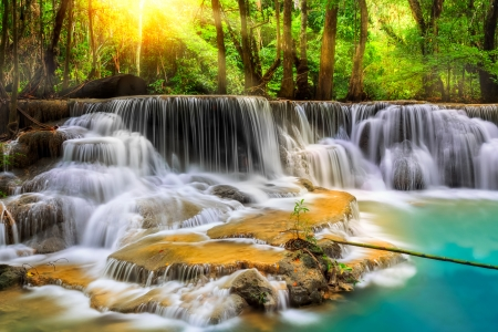 Level five of Erawan Waterfall in Kanchanaburi Province, Thailand