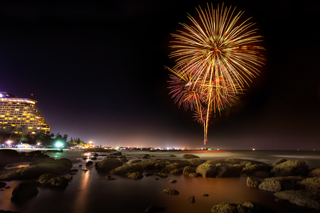 Fire work at huahin beach in new year celebration, Thailand photo