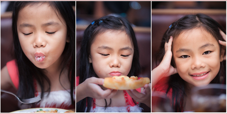 Set of asian Thai little girl eating pizza inrestaurant photo
