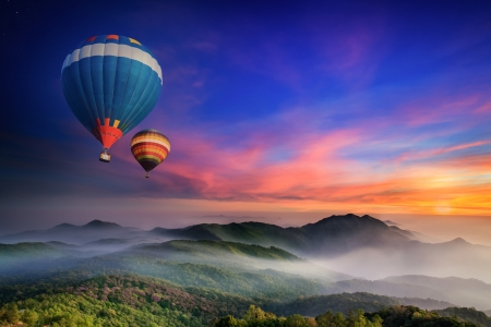 hot air balloon: Doi Inthanon National park in the sunrise and main road at Chiang Mai Province, Thailand Editorial