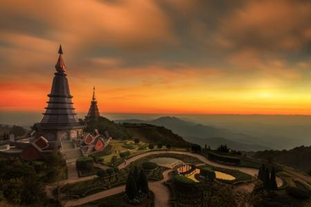 phon: Landscape of two pagoda (noppha methanidon-noppha phon phum siri stupa) in an Inthanon mountain, chiang mai, Thailand.