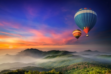 hot air: Doi Inthanon National park in the sunrise and main road at Chiang Mai Province, Thailand Stock Photo