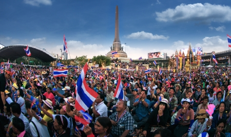 undemocratic: BANGKOK,THAILAND- JANUARY 14 : Million of protesters walked for anti government corruption (Prime Minister Yingluck Shinawatra ) at central Bangkok. on Janualy 14,2014 in Bangkok,Thailand.