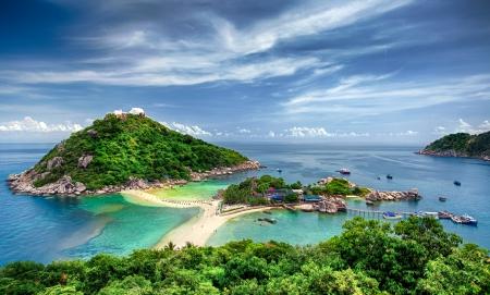 Sicht von der Spitze des Berges zu sehen, den Strand, das Meer und die Natur der Nang Yuan und Tao Insel Standard-Bild
