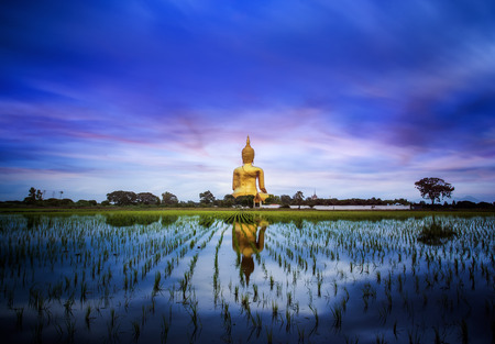 A biggest Buddha in Thailand, Ang Thong province. Thake a photo by too long shutter speed with big stoper 10 stop. photo