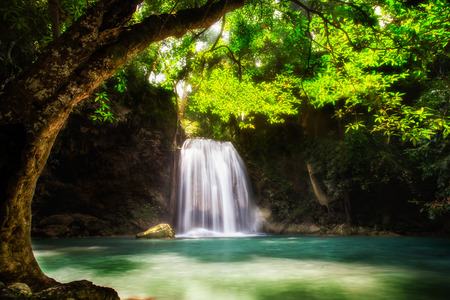 Level five of Erawan Waterfall n Kanchanaburi Province, Thailand Stock Photo - 25760781