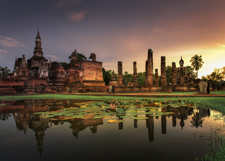 thailand view: Sukhothai historical park, the old town of Thailand in 800 year ago