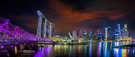 marina: Landscape of Singapore city in night urban view