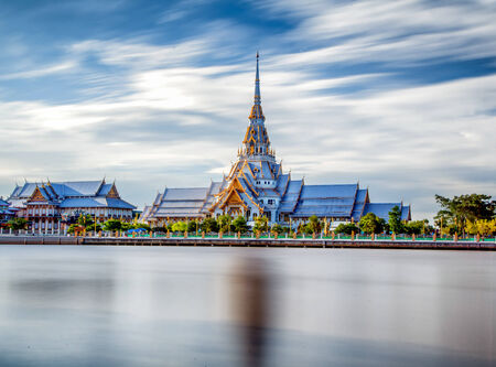 pilgrim journey: The Temple of So-thorn, in Thailand with blusky and refrection  Take photo by 10 stop ND filter