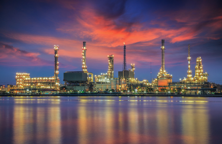 oil refinery industry plant at twilight morning