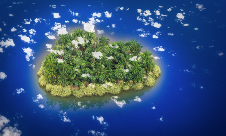 Paradise Island in the form of heart photo