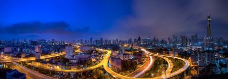 night traffic: Bangkok city night view with main traffic high way.