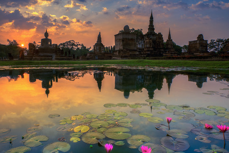 sukhothai: Sukhothai historical park, the old town of Thailand in 800 year ago, selective focus at lotus