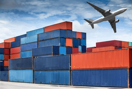 Stack of Cargo Containers at the docks photo
