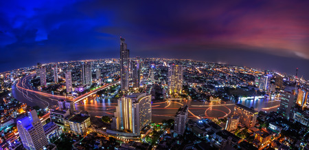 thailand bangkok: Landscape of River in Bangkok city in night time with bird view