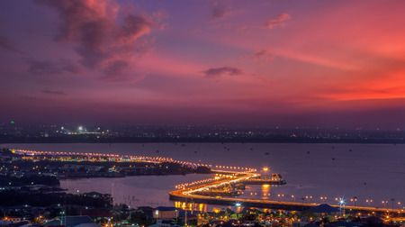 Seaview on chonburi town, Thailand, with cloud and twilight  photo