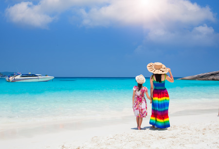 asian bikini: Asia mother and her daughter in Tropical beach, Similan Island, Andaman Sea, Thailand