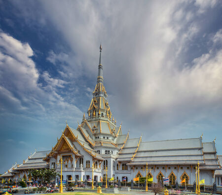 buddhist temple roof: Sothorn Temple at Chachoengsao province, Thailand Stock Photo