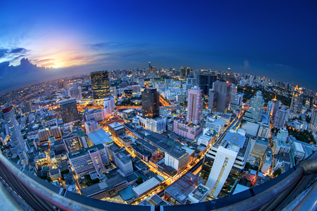 Bangkok city night view with Fish eye view lens
