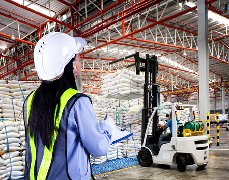 sack truck: Forklift loader with big bag of sugar in distribution warehouse