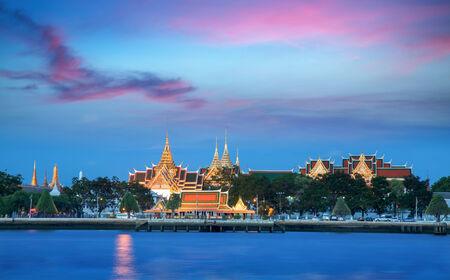 grand palace: Grand palace at night in Bangkok, Thailand Stock Photo