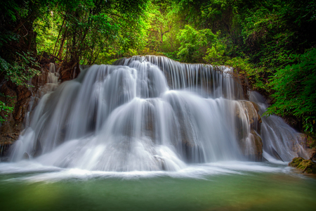 kamin: Level three of Huai Mae Kamin Waterfall in Kanchanaburi Province, Thailand