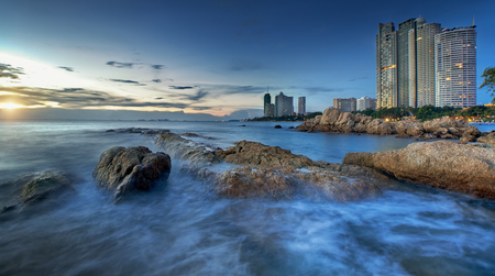 unoccupied: Pattaya City beach and Sea in Twilight, Thailand Editorial
