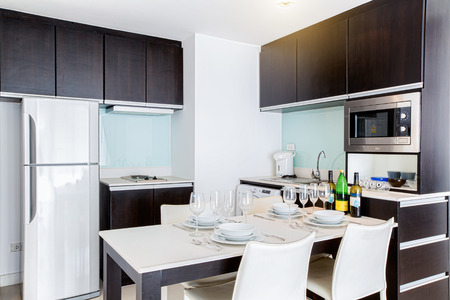 bright space: Bright space - a bright and spacious kitchen room with a view of a garden Stock Photo