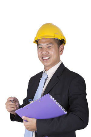 asian architect: Happy young asian engineer architect read a report on white background and clipping path Stock Photo