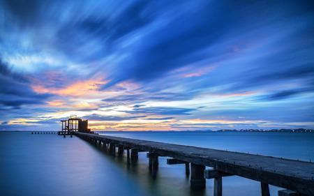 Landscape of bridge in the port and sunrise