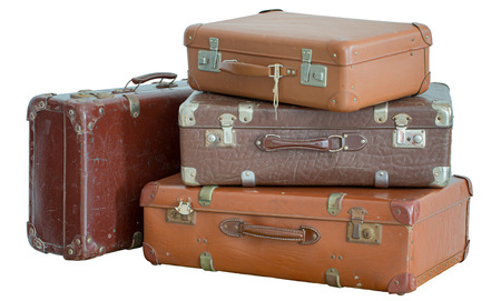 antique suitcase: Pile of old vintage suitcases - luggage Stock Photo