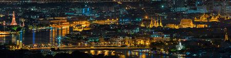 phraya: Grand palace and wat arun night in Bangkok, Thailand