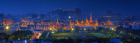 king palace: Landscape of Thais king palace with goldent pagoda and main gardent on the front. Stock Photo