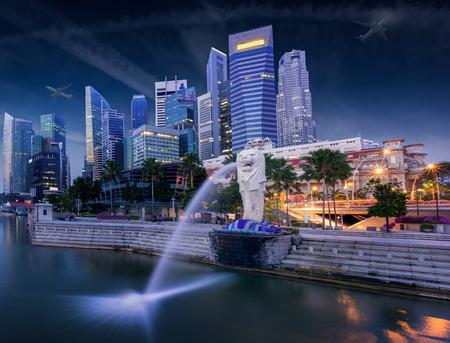 Sunrise in the morning at merlion Singapore Marina Bay sand