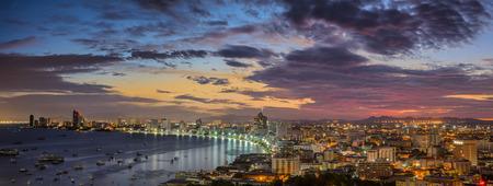 pattaya thailand: Pattaya City beach and Sea along morning sunrise Twilight, Thailand Stock Photo