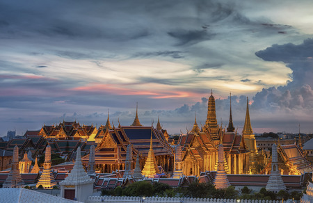 emerald city: Wat Phra Kaew, Temple of the Emerald Buddha,Grand palace at twilight in Bangkok, Thailand