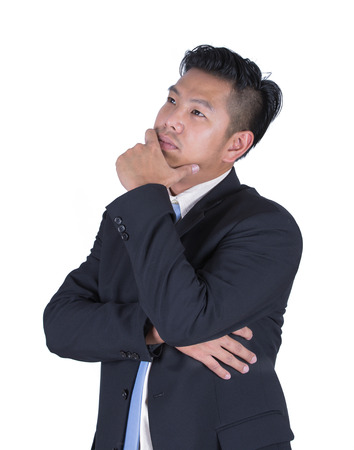 unsuccessful: Stressed business man with a headache isolated over white Stock Photo