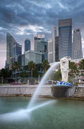 merlion: Landscape of the Singapore financial district with public merlion