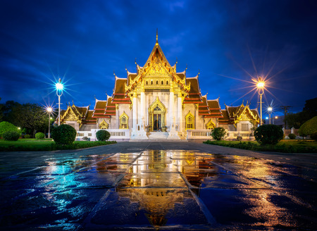 Wat Benjamaborphit or Marble Temple at twilight in Bangkok, Thai