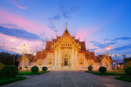 Wat Benjamaborphit or Marble Temple at twilight in Bangkok, Thai photo