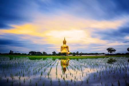 chiang mai: Wat Muang with gilden giant big Buddha statue in Thailand